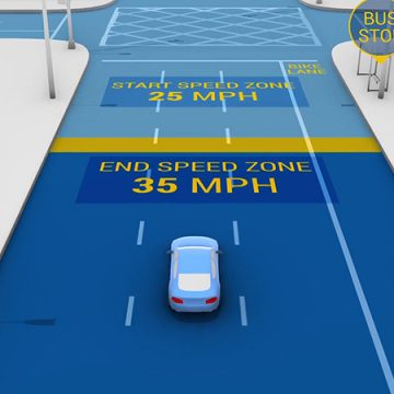 Depicts a car pulling up to an intersection and begins to slow down in phases prior to the intersection