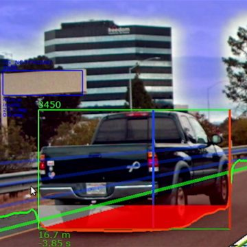 Calculations of how far away a truck is from an automated vehicle. Shows how the automated vehicle sees the other car.