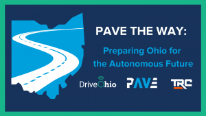 """Blue outline of Ohio with the text """"PAVE the Way: Preparing Ohio for the Autonomous Future"""""""