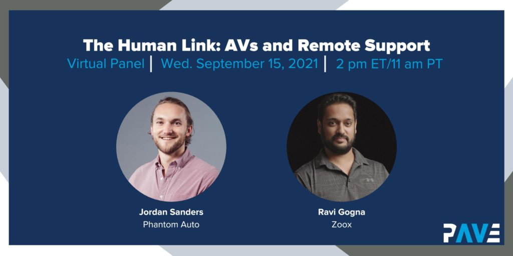 """Dark blue banner shows headshots of two smiling men and title """"The Human Link: AVs and Remote Support"""""""