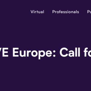 Purple banner announces title of IAA Mobility event