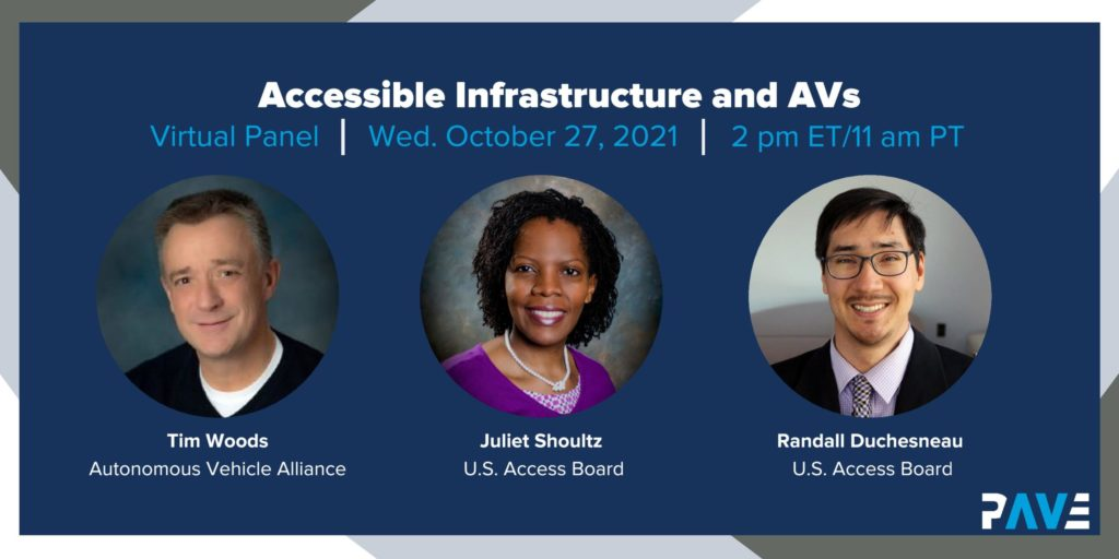 """A dark blue banner shows three smiling faces below a white title that says """"Accessible Infrastructure and AVs"""""""